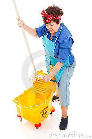 Cleaning Lady Wrings Mop