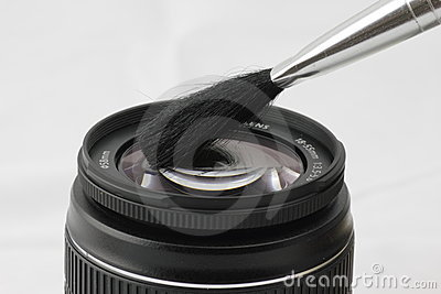 Cleaning a lens