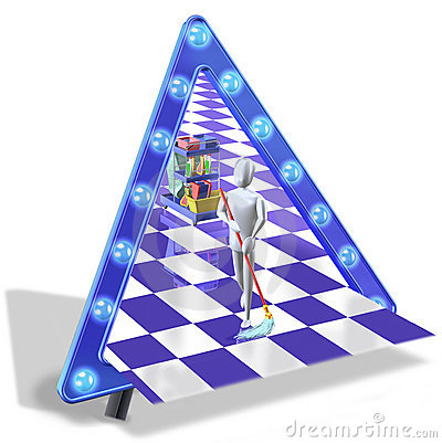 Cleaning man with triangle sign