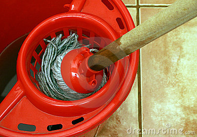cleaning with mop and bucket