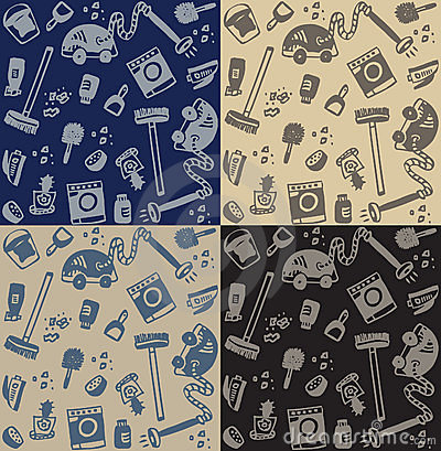 Cleaning objects seamless pattern