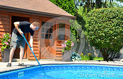 Cleaning The Pool Stock Photo Image 58025406