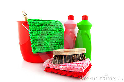 Cleaning products with red bucket