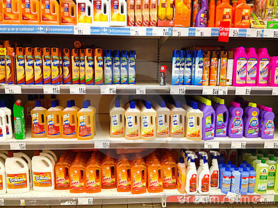 Cleaning products in supermarket Editorial Photo