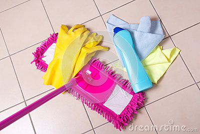 Cleaning products on the tile floor