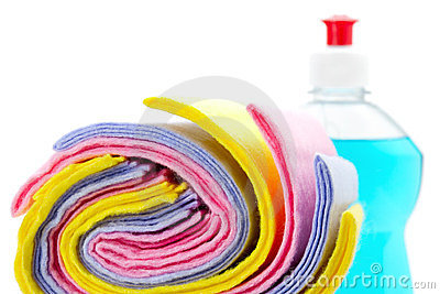 Cleaning rag with bottle dish washing liquid