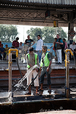 Cleaning of railway station in india Editorial Photography