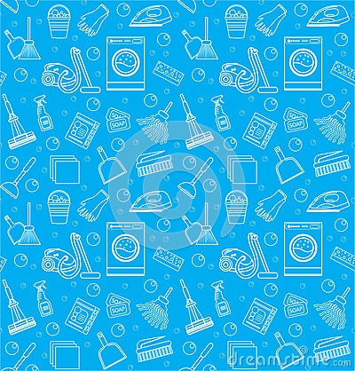 Free Cleaning Seamless Pattern. Endless Background, Texture, Wallpaper. Vector Illustration Royalty Free Stock Image - 81667676
