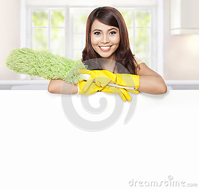 Free Cleaning Service Woman Presenting Blank Board Stock Images - 47548314