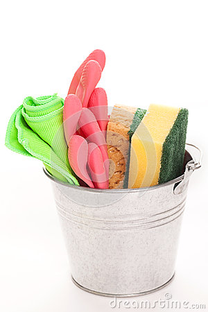 Cleaning sponges in a silver pail