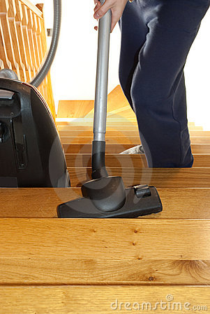 Cleaning the stairs