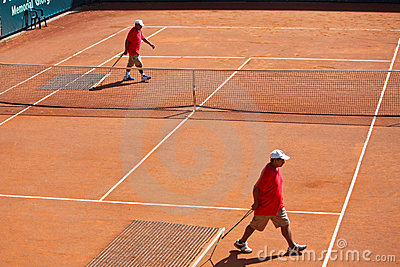 Cleaning of tennis court Editorial Photo
