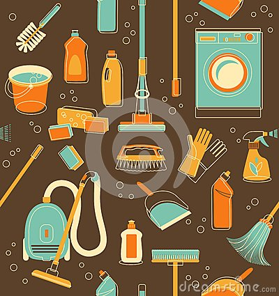 Free Cleaning Tools Seamless Background Stock Images - 47407504
