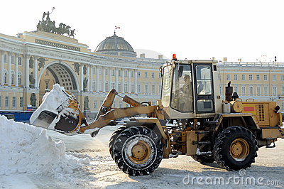 Cleaning up of snow in the street. Editorial Image