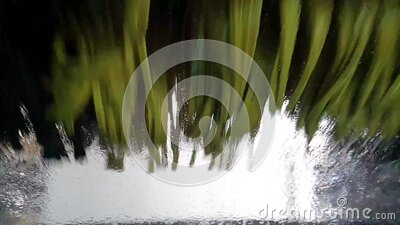 Cleaning the windshield in car wash stock footage