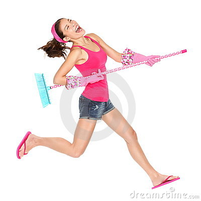 Cleaning woman happy jumping