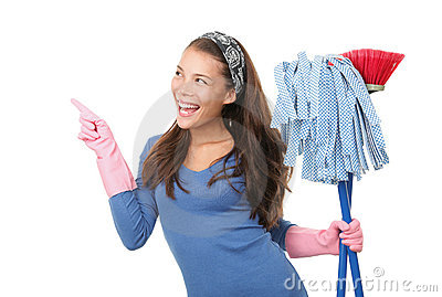 Cleaning woman pointing on white background