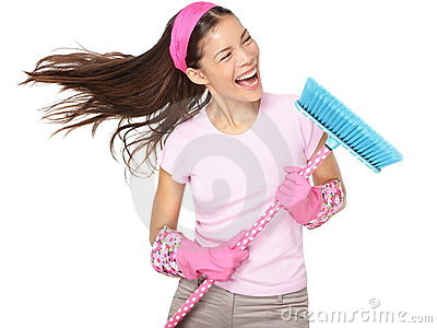 Cleaning woman singing