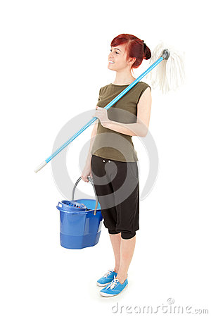 Cleaning worker girl with mop ready to cleaning fl