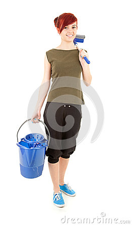 Cleaning worker woman