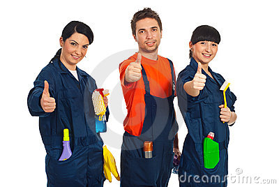 Cleaning workers giving thumbs up