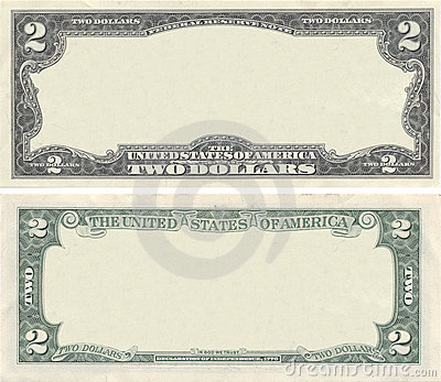 Clear 2 dollar banknote pattern
