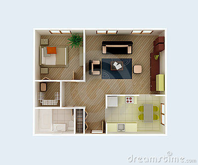 3d Floor Plan Section Apartment House Interior Overhead Top View Royalty Free Stock Image Image