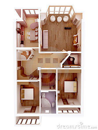 Clear 3d apartment floor plan interior idea.