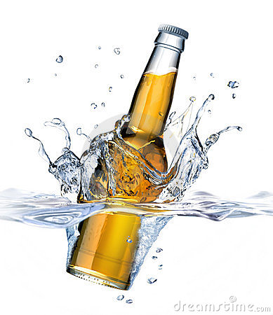 Clear Beer bottle falling into water.