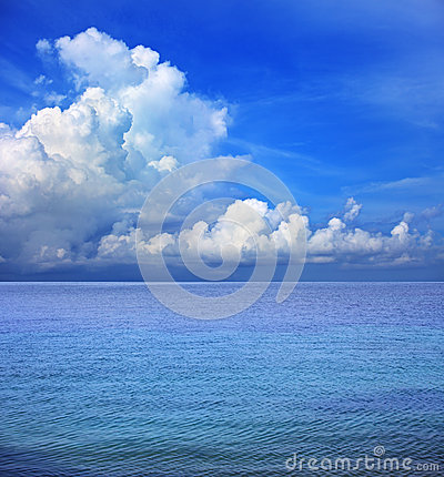 Clear blue sky white cloud and sea water