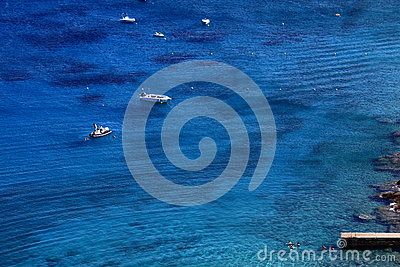 Clear blue water view of the mediterranean ocean Editorial Stock Photo