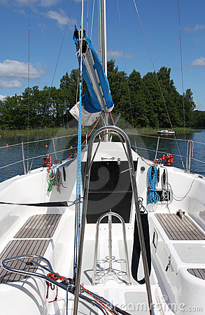 Clear deck on sailing boat