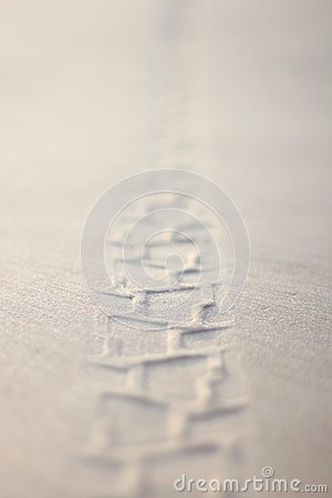 Free Clear Detail Of Track From The Bicycle Wheel In Wet Sand On The Beach. Royalty Free Stock Photos - 69535808