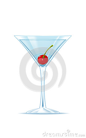 Clear drink in martini glass with cherry