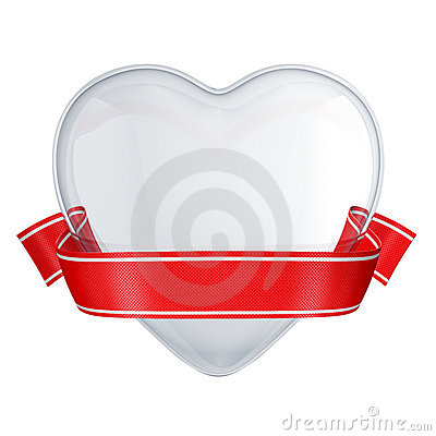 Clear glass heart with red ribbon
