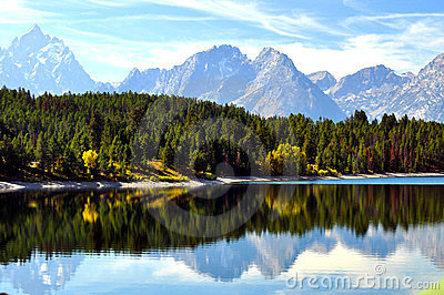 Clear lake with water reflections