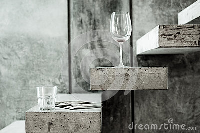 Clear Long Stem Wine Glass And Clear Drinking Glass On Grey Stairs Photo Free Public Domain Cc0 Image