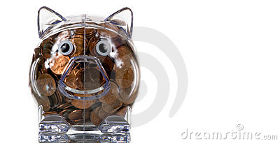 Clear Plastic piggy bank full of pennies
