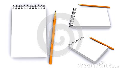 Clear spiral notepad with pencil