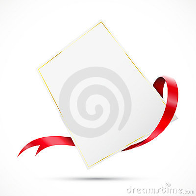Clear tag with red ribbon