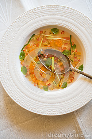 clear-tomato-soup-chopped-vegetables-cold-summer-tomatoes-consomme ...