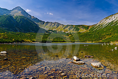 Clear water of a lake in Tatry Bielskie Mountains
