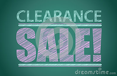 Clearance sale words written on the chalkboard