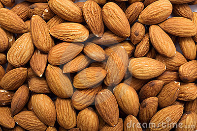 Cleared golden almonds background