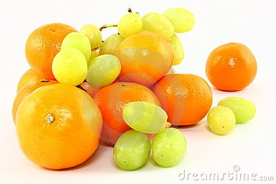 Clementines And Grapes On White