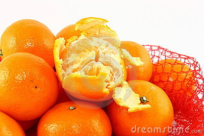 Clementines In A Red Net Close Up