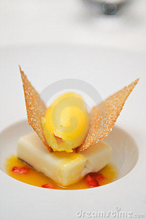 Clementines Sorbet With White Chocolate Mousse Royalty Free Stock ...