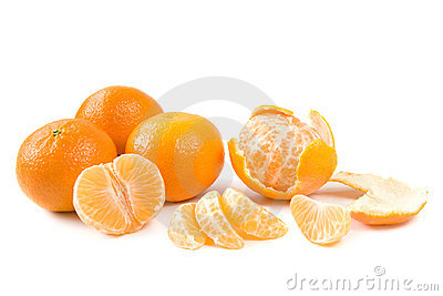 Clementines on white