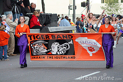 Clemson Marching Band in Gator Bowl Parade Editorial Image