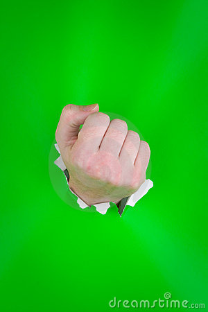 Clenched fist on green